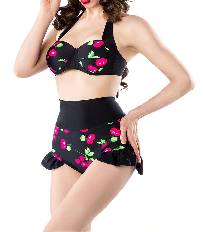 Retro Vintage Damen Bikini gepaddet mit Kirschmuster und High Waist Höschen in schwarz pink rosa rosa dunkel Retro Bademode
