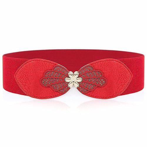 ZHANGYONG Adorno Floral Cinturilla Ancha Elástica Moda Vestido Dulce Slim Junta De Cintura