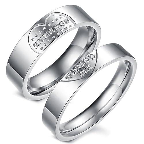 Flongo 2 Anillos pareja, Hombres Mujer, Corazón rompecabezas, anillos compromiso/matrimonio,