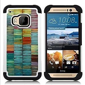 """Hypernova Híbrido Heavy Duty armadura cubierta silicona prueba golpes Funda caso resistente Para HTC One M9 /M9s / One Hima [Colores en colores pastel del trullo Líneas Brush""""]"""