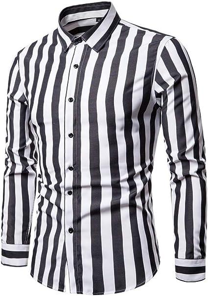 SXZG Camisa de Manga Larga para Hombre Nueva Camisa de Hombre de Gran Tamaño con Rayas Británicas: Amazon.es: Ropa y accesorios