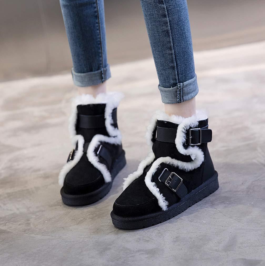 LIANGXIE Frauen Frauen Frauen Ankle Winter Snow Stiefel Stiefel Outdoor Walking Non-Slip Schuhe Short Tube Buckle Fur One Locomotive Snow Stiefel Leder Wool Stiefel 5ac3a1