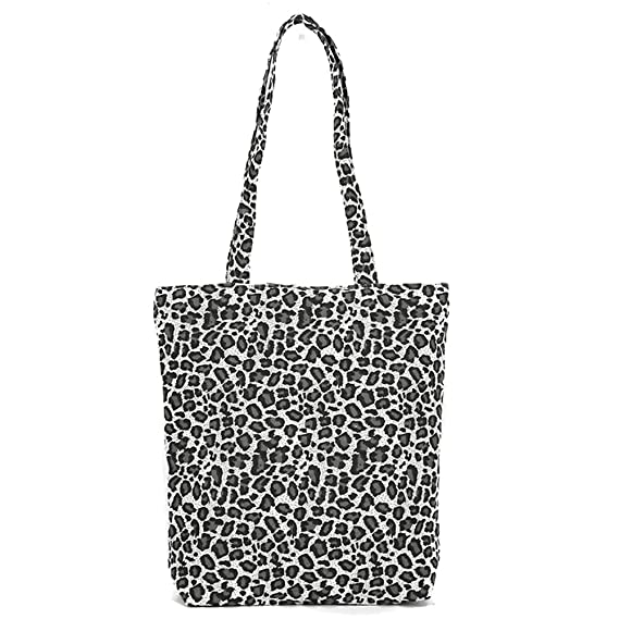 bigcity Women s Bag Leisure Women Leopard Print Canvas Large Capacity  Shopping Shoulder Bag Tote White Onesize  Amazon.in  Clothing   Accessories f0338c52c09d4