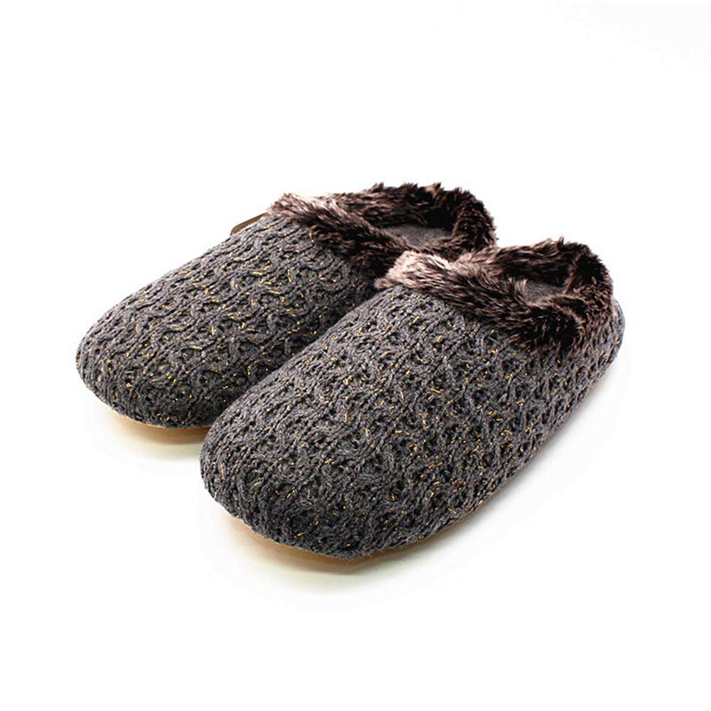 NOMIMAS Women Indoor Knit Cotton Slippers Winter Warm Rabbit Hair Home Shoe Ladies Rubber Non Slip Flip Flop