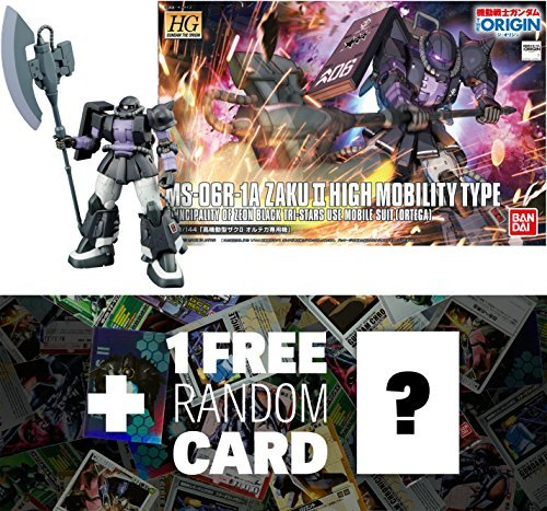 MS-06R-1A Zaku II High Mobility Type (Ortega Custom): Gundam The Origin High Grade 1/144 Model Kit + 1 FREE Official Japanese Gundam Trading Card Bundle (HGGTO - Suits Custom Tri