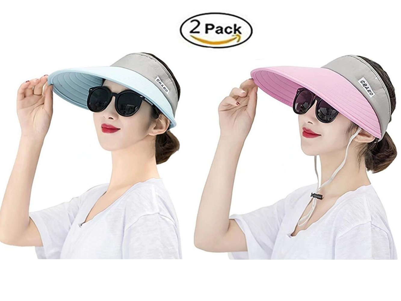 Jiuhexu Visor Hats Wide Brim Cap UV Protection Summer Sun Hats For Women