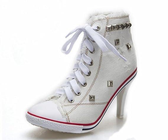 JQNSX Baskets Femmes Chaussures à Talons Hauts Chaussures De Toile Haute  Pompe Lacets Compensées Chaussures  Amazon.fr  Sports et Loisirs f346b16c62d8