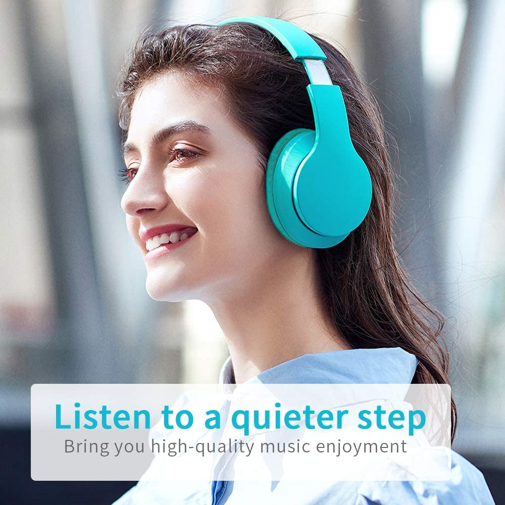 Bluetooth Headphones Over Ear Rechargeable HiFi Stereo Headset PC w//Wired Mode Light Green Home Office Comfortable Wireless Headphones CVC6.0 Microphone for Cellphone Online Class