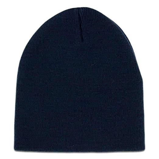 Image Unavailable. Image not available for. Color  Solid Navy Blue Knit  Beanie ... f0ee1a91cb0