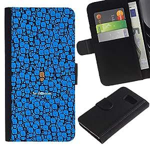 KingStore / Leather Etui en cuir / Samsung Galaxy S6 / Azul Sea diferente Dibujo lindo del personaje