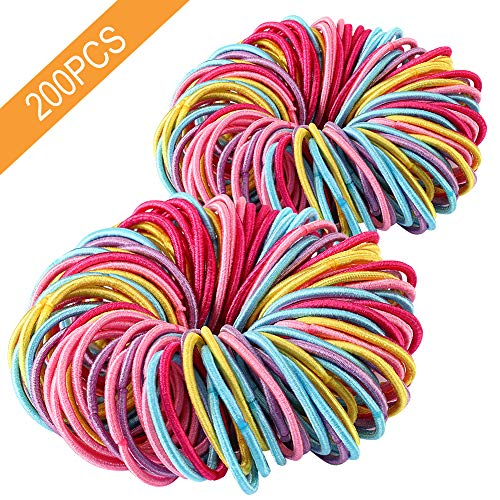 (Premium 200 PCS Elastic Hair Ties, Multi-color Ouchless Ponytail Holders, Hair Bands Holders Hair Accessories for Girls)