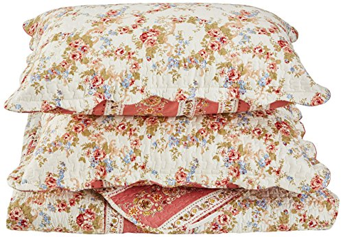 Patch Magic Old Rose Corona 3-Piece Quilt Set Queen, Floral, COLONIAL BLUE by Patch Magic