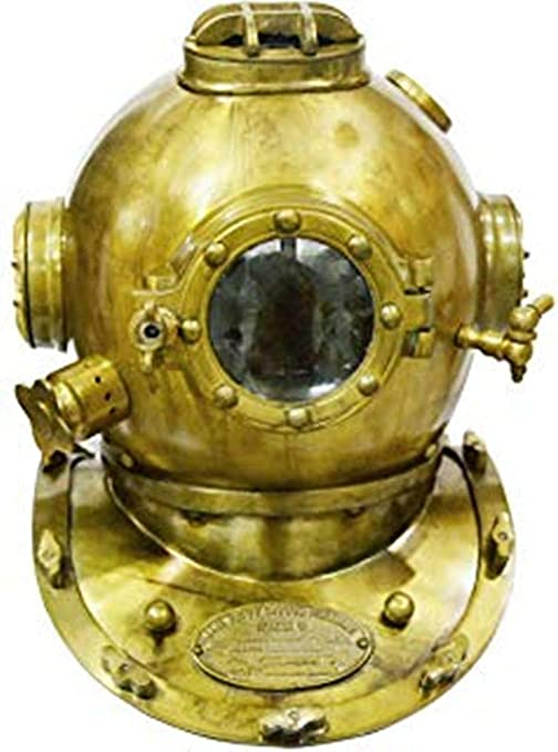 Antique Brass Scuba Mini Diving Divers Helmet US Navy Mark V Solid Steel Vintage