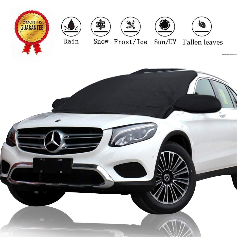 Z-H-C Car Windshield Snow Cover, Auto Snow Windshield Cover with Rearview Mirror Protector Cover, Blocking Snow, Fallen Leaves, UV Sun Rays, Elastic Hooks Design Fits Most Car, SUV, Truck (87'x50') Truck (87x50)