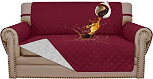 Easy-Going 100% Waterproof Sofa Slipcover Sofa Cover Furniture Protector Couch Cover Pets Covers Whole Fabric No Stitching Slip Resistant Non-Slip Fabric Pets Kids Children Dog Cat (Loveseat, Wine)