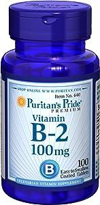 Puritans Pride Vitamin B-2 100 Mg Tablets, 100 Count