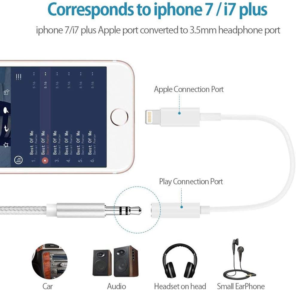 for iPhone Headphone Adapter Jack to 3.5mm Dongle for iPhone 11//Xs//XR//XS Max//X //8//8Plus//7//7Plus.Earphone Adaptor Female Connector Audio Cable Earbuds Aux Converter Support All iOS System 3 Pack