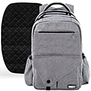 Large Diaper Bag Backpack with Stroller Straps, Baby Changing Mat & 18 Pockets - Insulated Milk Bottle Pockets, Water Resistant Unisex Design for Men & Women