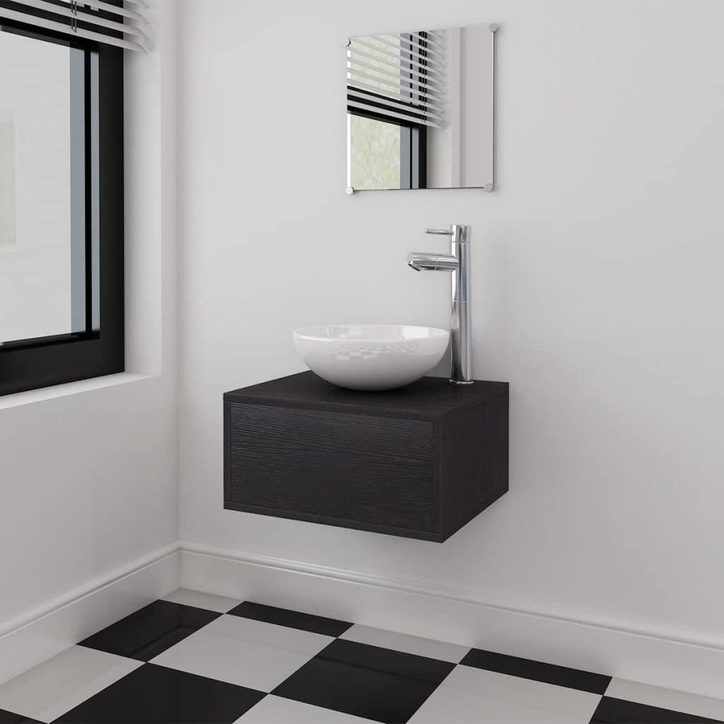 Badm/öbel Set Waschbecken Waschtisch Unterschrank Spiegel Badezimmer vidaXL 3tlg