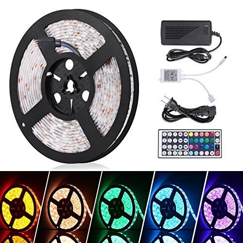 (Boomile 16.4ft LED Flexible Light Strip, RGB 300 LEDs SMD 5050, LED Strip Lights, Waterproof Light Strips Kit, LED ribbon, Holiday Home Kitchen Car Bar Indoor Ceiling Party Decoration)
