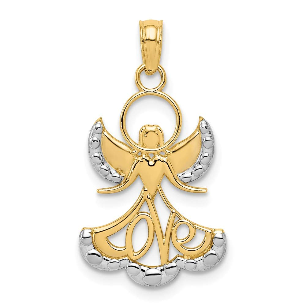 Mia Diamonds 14k Solid Yellow Gold and Rhodium-Plating with rhodium Love Angel Pendant 27mm x 15mm