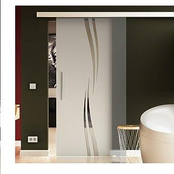 Puertas correderas de cristal 77,5 x 205 cm en ESG-vidrio de leche con olas-