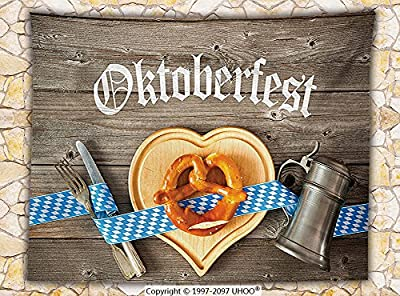 Oktoberfest Decorations Fleece Throw Blanket Oktoberfest Beer Festival Cutlery Ribbon and Cutting Board on Restaurant Table Throw Blue Gray