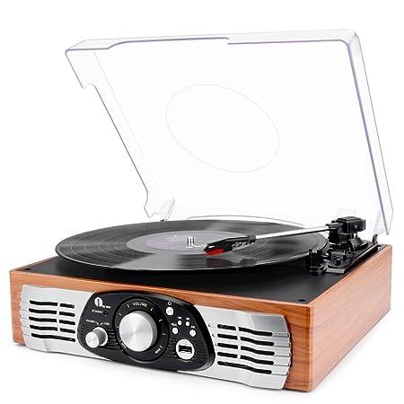 1 BY ONE Tocadiscos estéreo de 3 velocidades con Altavoces incorporados, graba de Vinilo a MP3, Reproduce MP3, Salida RCA, Madera Natural
