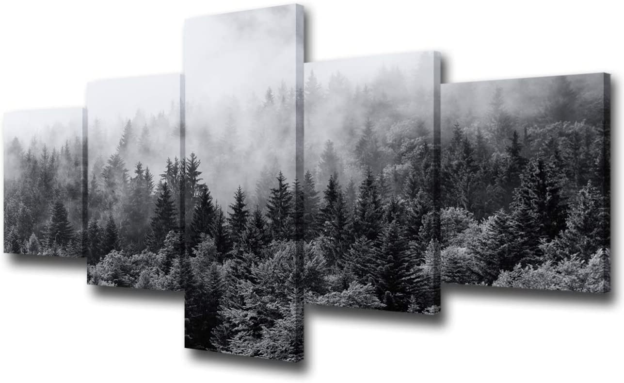 5 Piece Canvas Wall Art for Living Room- Misty Forests of Evergreen Coniferous Trees in an Ethereal Landscape with Low Laying Mist- Modern Home Decor Stretched and Framed Ready to Hang – 50 W x 24 H