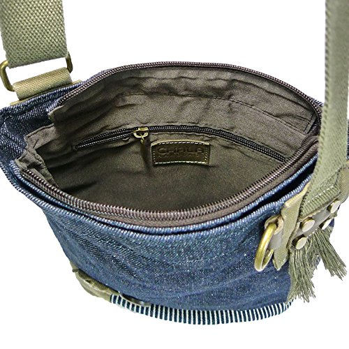 Cross Husky Blue Messenger Denim Denim Women Patch Chala Handbag Canvas Body Bag XSB5vnw