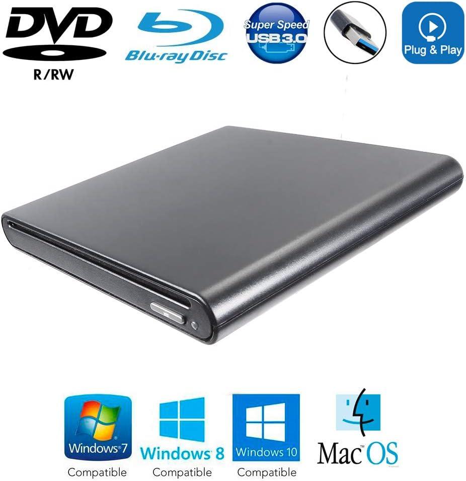 USB 3.0 External 3D Blu-ray Player DVD/CD Burner, for HP Dell XPS Lenovo Yoga Acer Asus Mac Book iMac Gaming Laptop & Desktop Computer, Region Free 8X DVD+-RW DL 24X CD Writer Slot Optical Drive Black