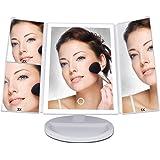 LASUAVY 化粧鏡 卓上 折りたたみ式 LED三面鏡 明るさ調節可能 180度回転 USB/単三電池給電 アンティーク プレゼント