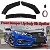 Ruien 3pcs Front Bumper Lip Kit Spoiler Compatible with Honda Civic Sedan 4Dr 2016 2017 2018 Black Body