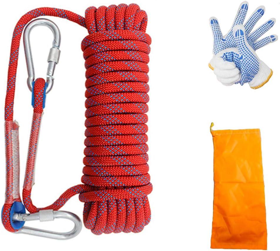 cuerda de seguridad con guante y dos mosquetones escape de incendios equipo de supervivencia al aire libre 10 m Cuerda de escalada en roca 10 mm de grosor equipo de escalada escalada
