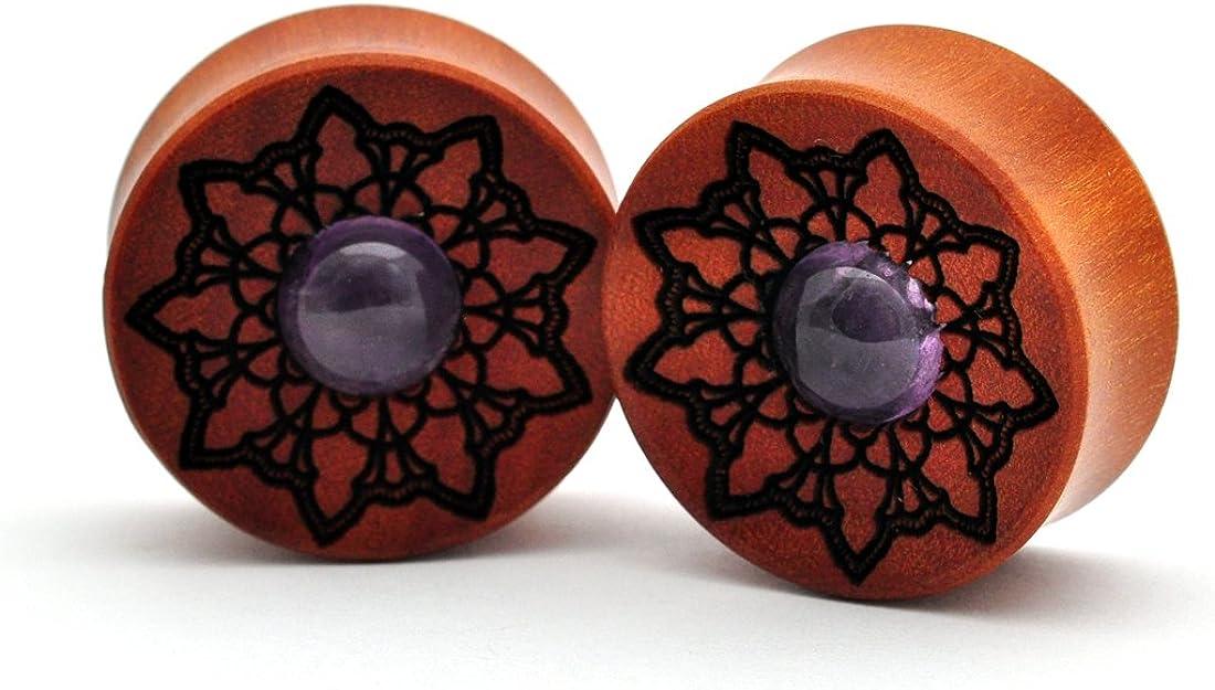 Mystic Metals Body Jewelry Pair of Laser Engraved Snake Wood Plugs Crocodile Wood PW-336