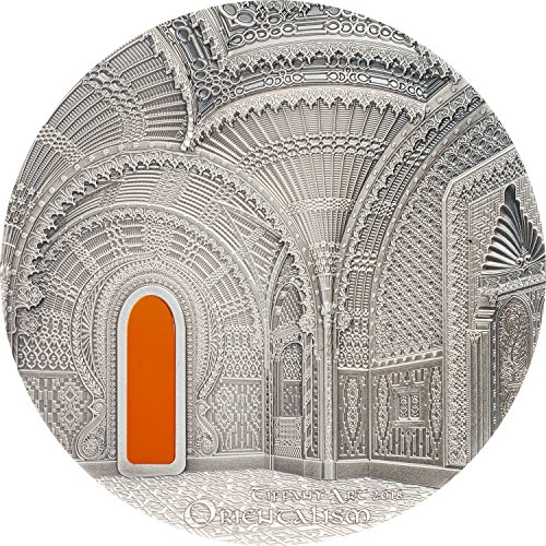 - 2018 PW Tiffany Art - Orientalism (Castle of Sammezzano) 2oz .999 pure silver coin, Tiffany Glass & luxury box - Palau $10 Mint State