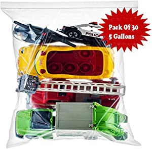 """Prime Essentials Durable 5 Gallon Slider Zip Lock Bags, with Resealable Slider Closure, Size 18""""×24"""", Super Thick, Pack Of 30, Space saver, For Food Storage, Clothing, Baby Stuff, Toys, Swimwear"""