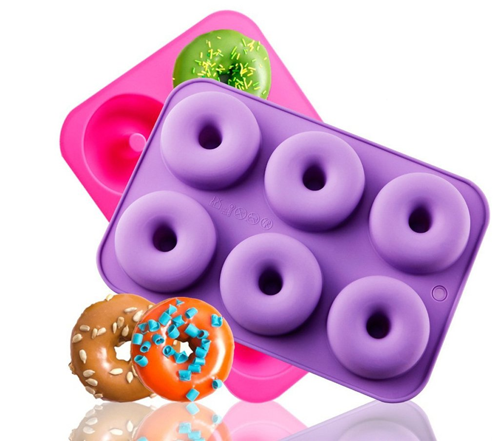 Kisweet 2-Pack Donut Baking Pan Non-Stick Donut Molds 6-Cavity Bake Tray