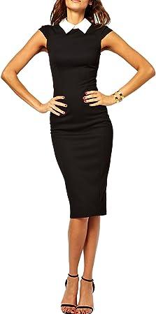Viwenni Women's suit collar high Sleeveless work to wear Pencil Office Dresses