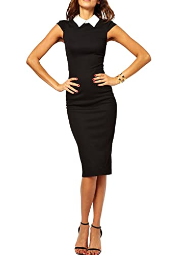Viwenni Women's suit collar high Sleeveless work to wear Pencil Office Dresses