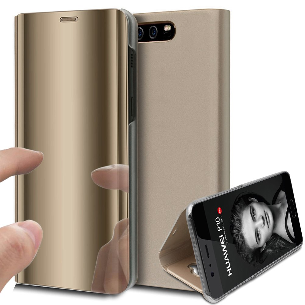 Huawei P10 Case,Huawei P10 Cover,ikasus Ultra-Slim Luxury Hybrid Shock-Absorption Plating Mirror Makeup Case Cover PU Leather Flip Stand Kickstand Protective Case Cover for Huawei P10,Gold