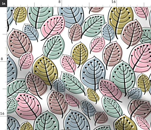 Spoonflower Pastel Laves Fabric - Smiling Leaves Autumn Home Decor Upholstery Mod Pink Green Print on Fabric by The Yard - Basketweave Cotton Canvas for Upholstery Home Decor Bottomweight Apparel