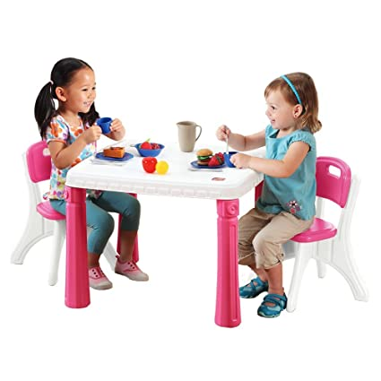 Step2 LifeStyle Kitchen Table and Chairs Set Pink  sc 1 st  Amazon.com & Amazon.com: Step2 LifeStyle Kitchen Table and Chairs Set Pink: Toys ...