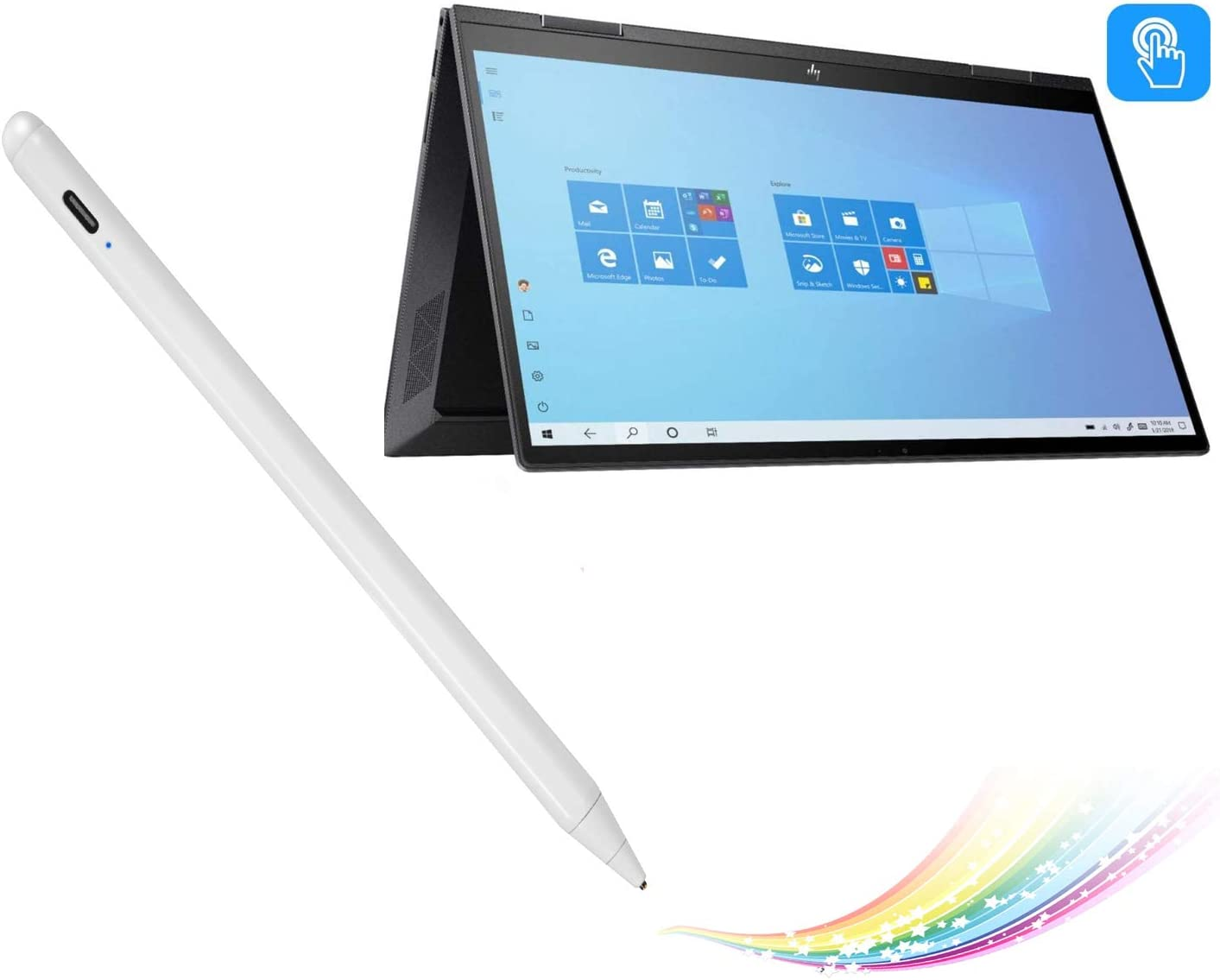 """Stylus Pen for HP Envy X360 Convertible 2-in-1 15.6"""" Pencil, Active Digital Pencil Compatible with HP Envy X360 2-in-1 Stylus Pen,Good for Sketching and Note-Taking with Type-C Recharge, White"""