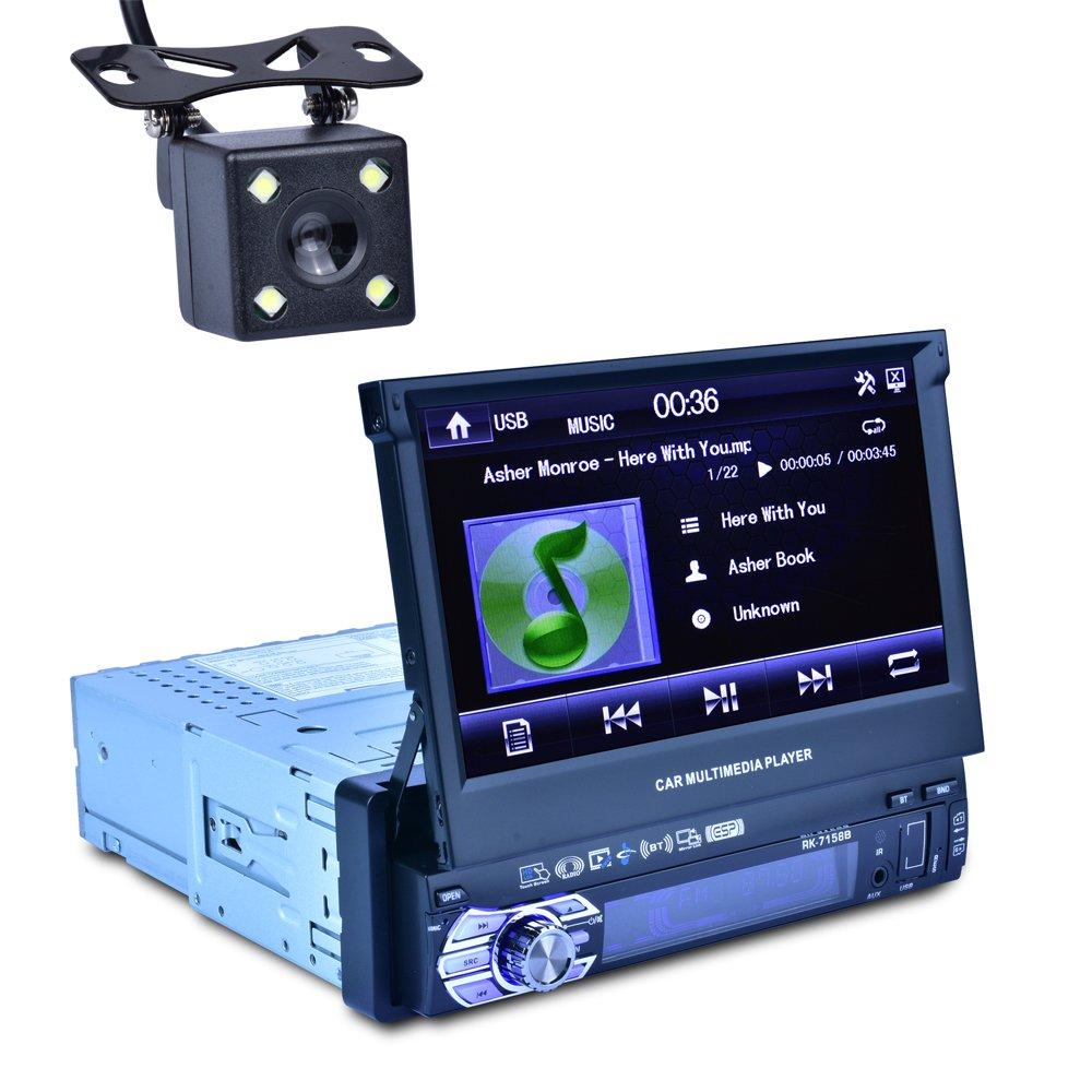 Reakosound Reproductor MP5 7158B de 7 pulgadas para automó vil con funció n retrá ctil automá tica con cá mara retrovisora