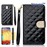 Galaxy Note 3 Case, Nccypo Newly Fashion Multifunction Detachable Hand Strap PU Leather Folio Magnet Stand Wallet Slim Protective Shell Case Cover For Samsung Galaxy Note3 N9000[Sheeny Grid Skin Design-Black] with Stylus, Screen Protector and Cleaning Cloth