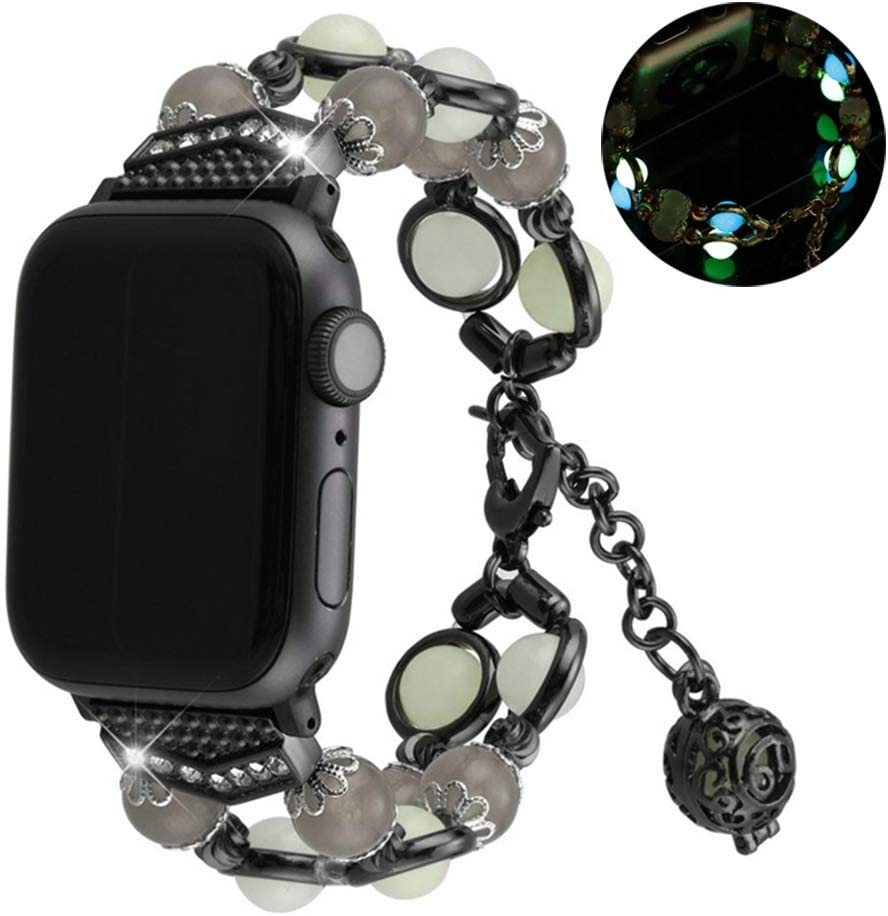 Compatible With Apple Watch 1/2/3/4/5 Series Iwatch Band Agate Luminous Beads Adjustable Jewelry 38mm 40mm 42mm 44mm Bracelet (Black, 42/44mm)