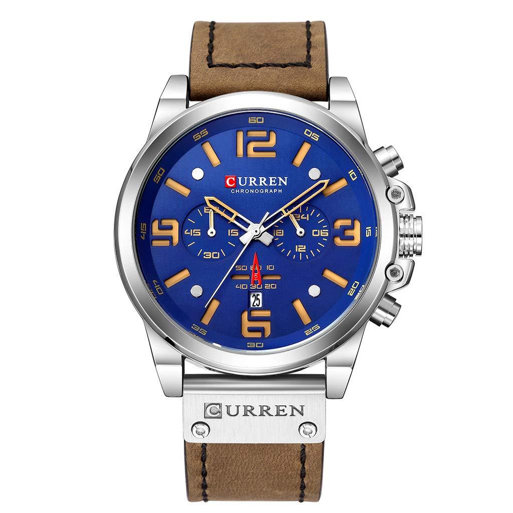Guartz Watches for Men Digital Under 10 Dollars ❤ Men's Business Belt Watch Waterproof Calendar Casual Quartz Six Piece Watch