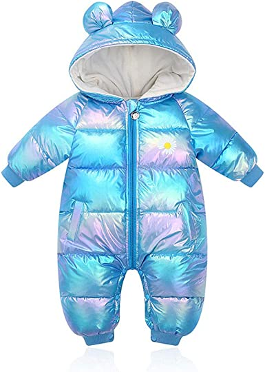 for 0-24 Months Romper + Gloves + Shoes LPATTERN Baby Girls Boys All in One Snowsuit Warm Hooded Rompers One Piece Puffer Suit Infant Winter Bodysuits Double Zipper Jumpsuit 3Pcs Set