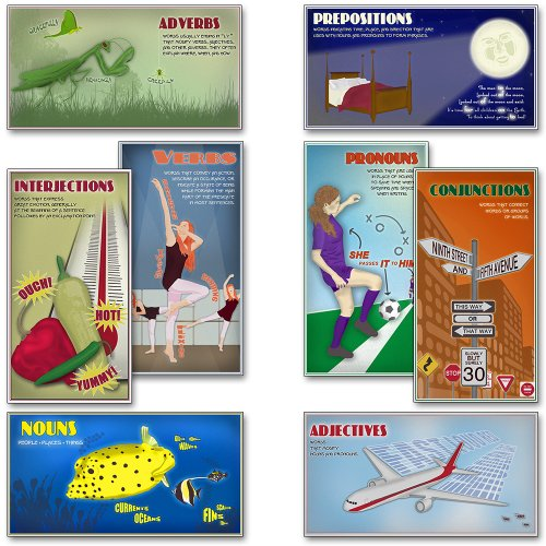 Esteem Self Bulletin Boards (Mini Parts of Speech Educational Poster Set. Eco-friendly, Language Arts Bulletin Board Set.)
